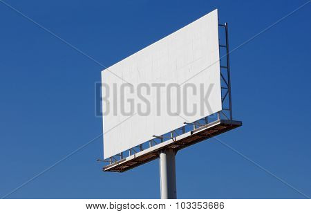 Blank billboard for new advertisement with blue sky background