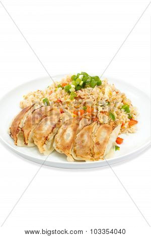 Chinese food Fried dumpling and fried rice set