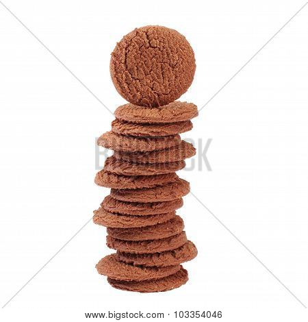 Stack of Brown chocolate chip cookies isolated on white background