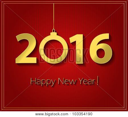 2016 Happy New Year red poster