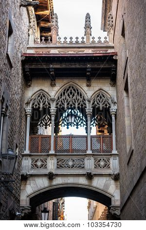 Bridge At Carrer Del Bisbe In Barcelona Barri Gotic,  Spain