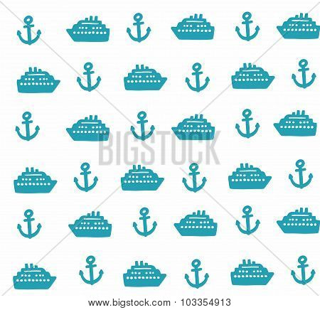 Simple pattern with anchors and ships.