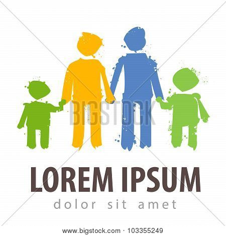 family vector logo design template. parents or children icon