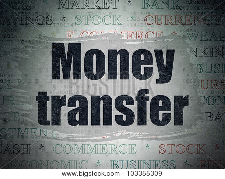 Banking concept: Money Transfer on Digital Paper background