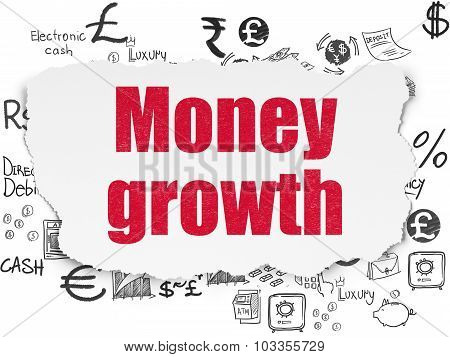 Currency concept: Money Growth on Torn Paper background
