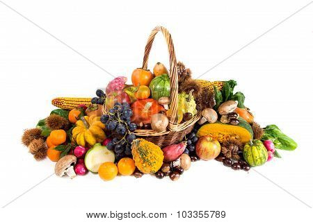 Autumn Harvest - Fresh Autumn Fruits And Vegetables On Wicker Basket On White Background