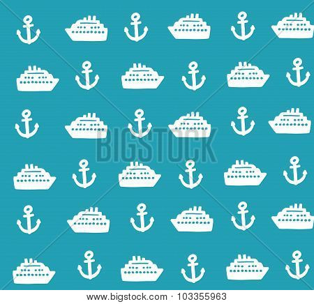 Marine seamless pattern with cute anchors and boats.