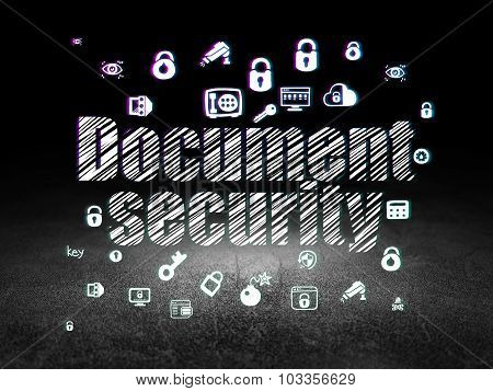 Privacy concept: Document Security in grunge dark room