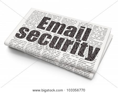 Protection concept: Email Security on Newspaper background