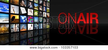 On Air Live Television Screens Black Background