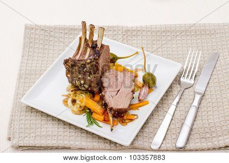 Grilled Rack Of Lamb With Carrot Onion
