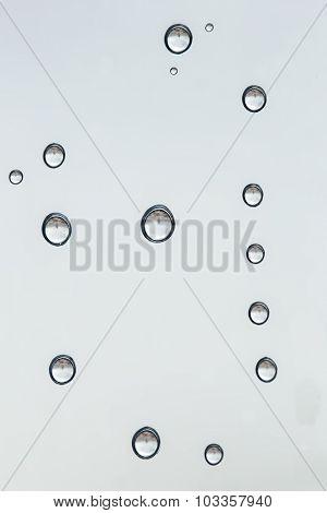 Raindrops macro on a window