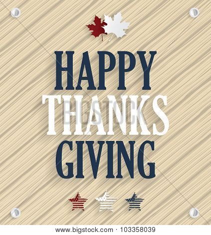 Happy Thanksgiving. Wooden background