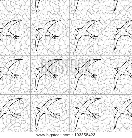 Seamless Pattern Of Black Silhouettes  Swallows