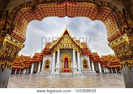 Wat Benchamabophit, the Marble Temple, in Bangkok, Thailand.