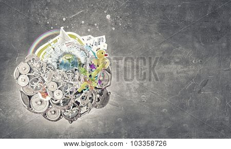 Earth planet made of gears. Elements of this image are furnished by NASA