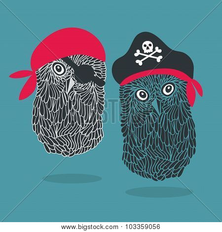 Set of two owl pirates.