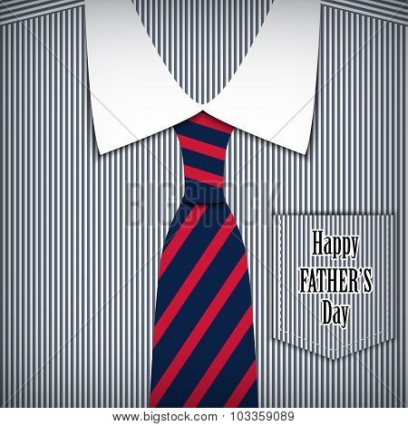 Vector fathers day greeting card with shirt.