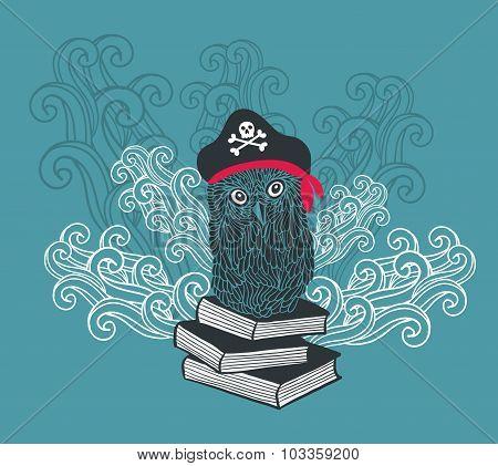 Captain owl with adventure books.
