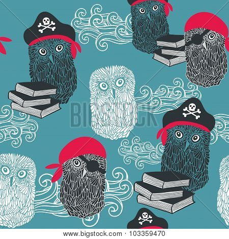 Seamless background with cute owls.
