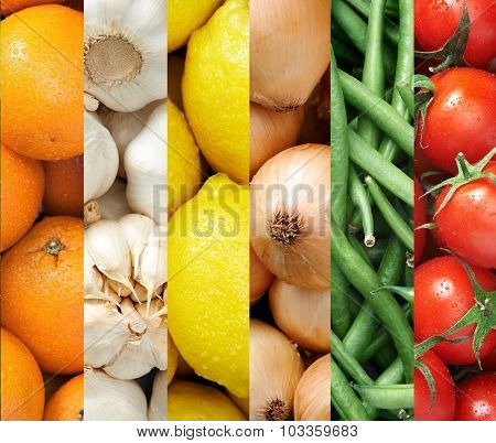 Collage of healthy food background raw fresh fruits and vegetables