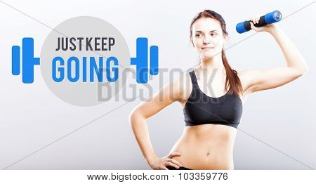 Just Keep Going, Woman With Dumbbell