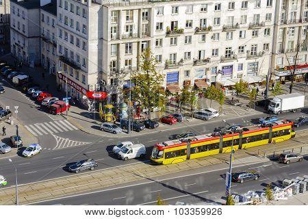 Aerial View To Marszalkowska Street In Warsaw