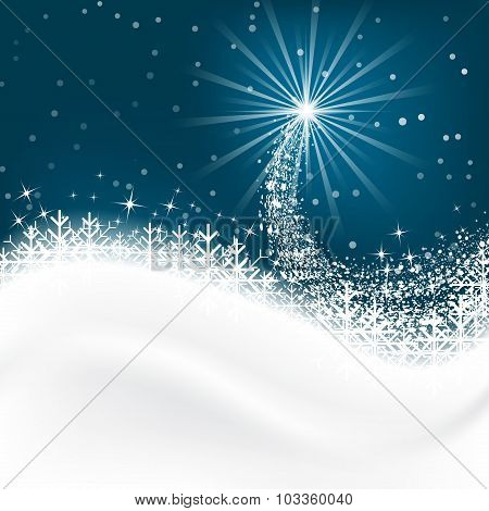 Snow vector background with snowflakes. Merry Christmas greetings.