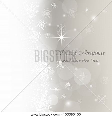 Christmas greeting card with snow, flakes and glow.