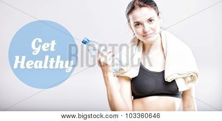 Get Healthy, Beautiful Woman With Bottle