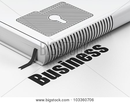 Finance concept: book Folder With Keyhole, Business on white background