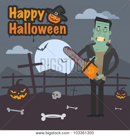 Illustration Halloween Frankenstein holding chainsaw