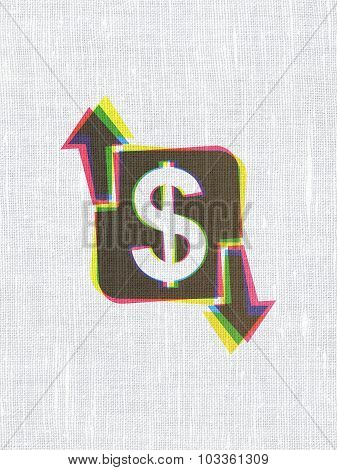 Finance concept: Finance on fabric texture background
