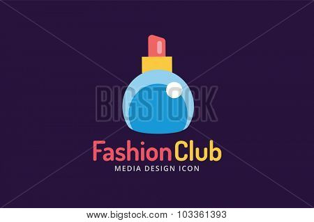 Perfume bottle sign icon logo. Glamour perfume logo symbol isolated. Vector fashion logo icon. Spa, sales, shopping, perfume bottle logo. Fashion shop sale icon logo. Vector shop logo, sale coupons