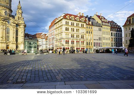 View Of The New Market Square In Dresden