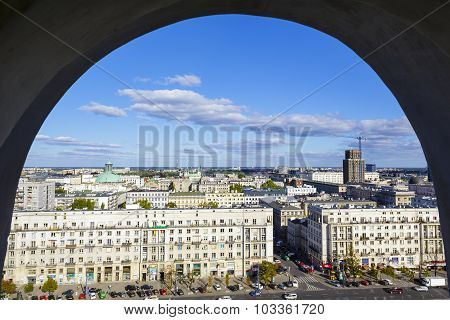 View Through Window On City Center Of Warsaw