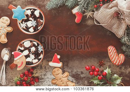 Hot chocolate in a Christmas setting