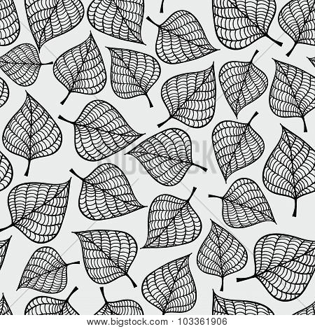Decorative seamless black and white pattern with autumn leaves.
