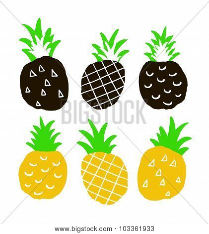 Set of hand drawn ananas.