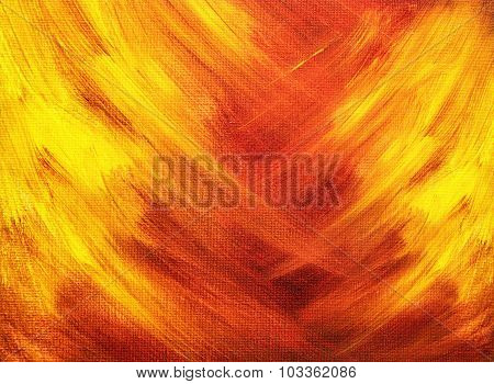 Bright Abstract Painting That Looks Like Flames Painted With Acrylic Paints
