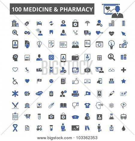 100 medicine & pharmacy icons