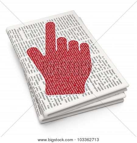 Advertising concept: Mouse Cursor on Newspaper background