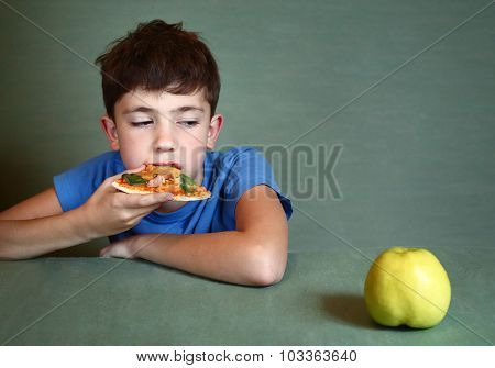 Boy With Pizza Refuse To Eat Apple