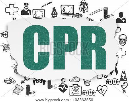 Medicine concept: CPR on Torn Paper background