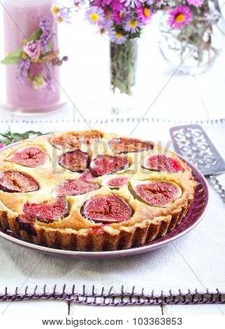Almond And Fig Tart On Plate