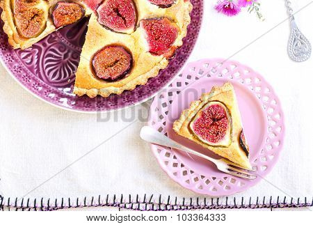 Almond And Fig Tart On Plate,