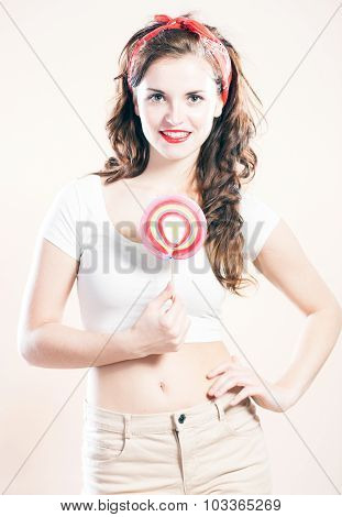 Portrait Of Beautiful Smiling Pin Up Girl