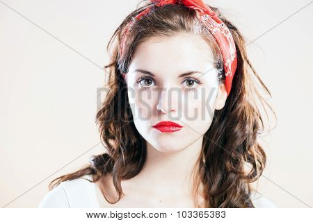 Portrait Of Beautiful Pin Up Girl