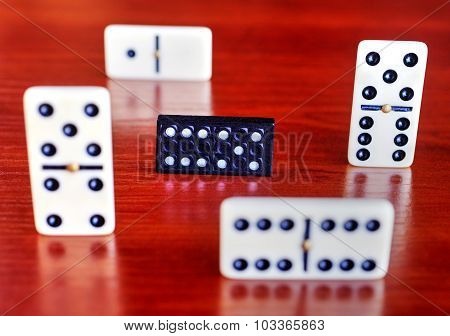 Dominoes on a wooden board