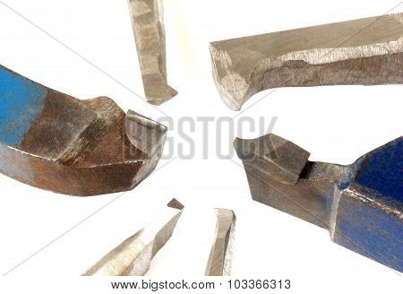 Metal tools isolated on white closeup
